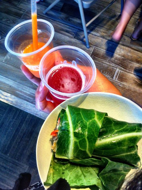 Evolution Juices and Collard Hummus Wrap