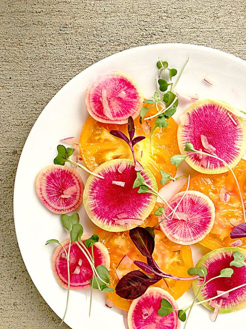 Watermelon Radish Heirloom Tomato Carpaccio Salad