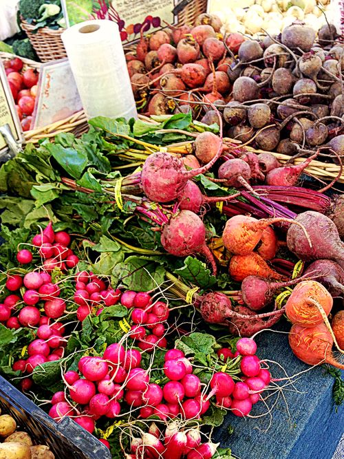 Farmers market beets and radishes