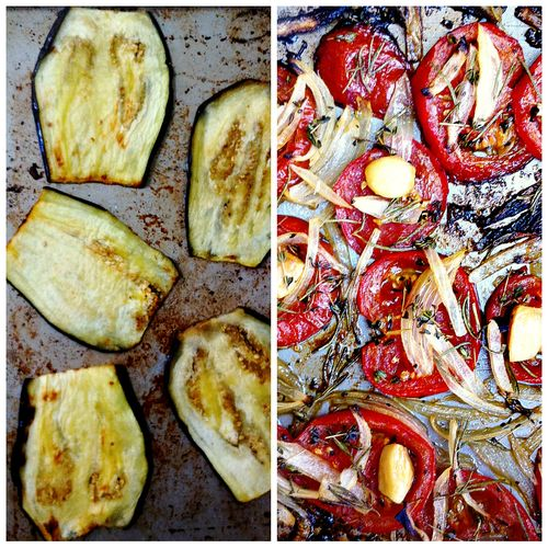 Eggplant Roasted Tomato Collage