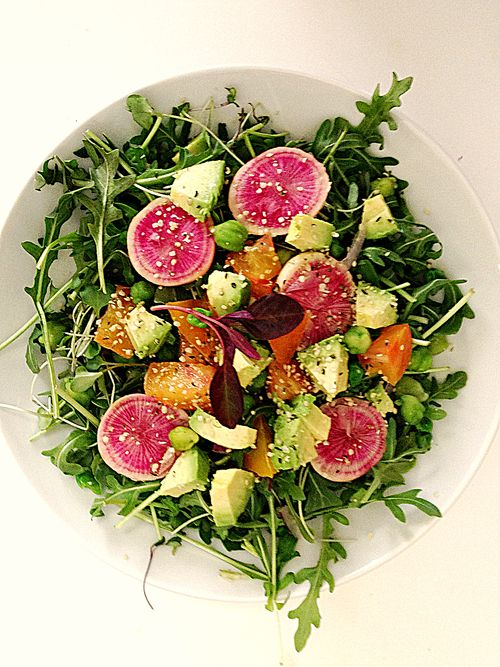Watermelon Radish Arugula Heirloom Tomato Avocado Salad