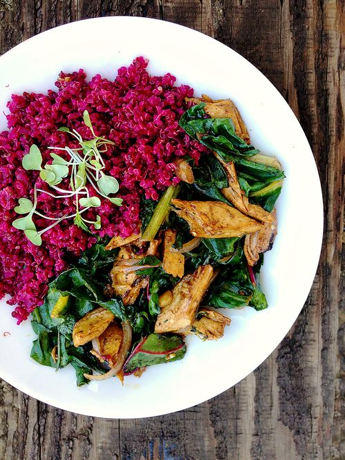 Red Quinoa Beyond Meat Chard