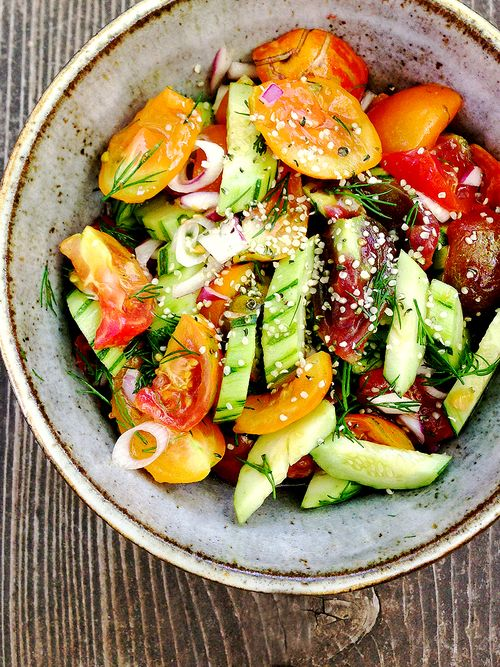 Armenian Cucumber Heirloom Tomato salad