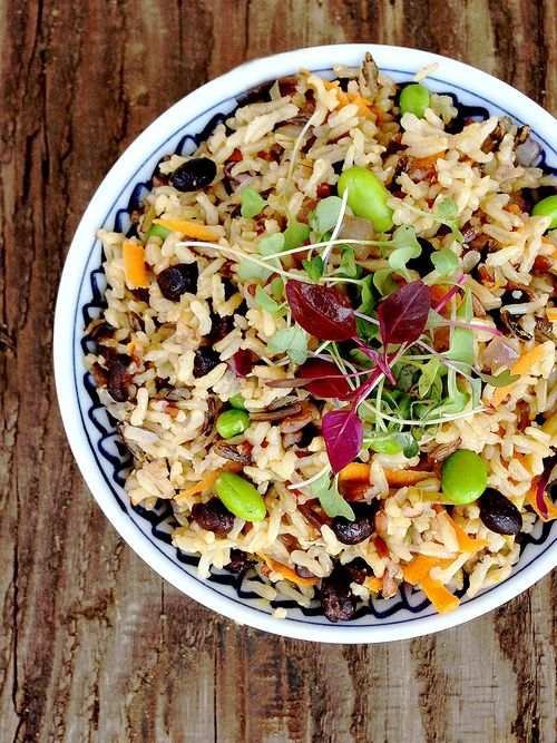 Black Bean Edamame Fried Brown Rice
