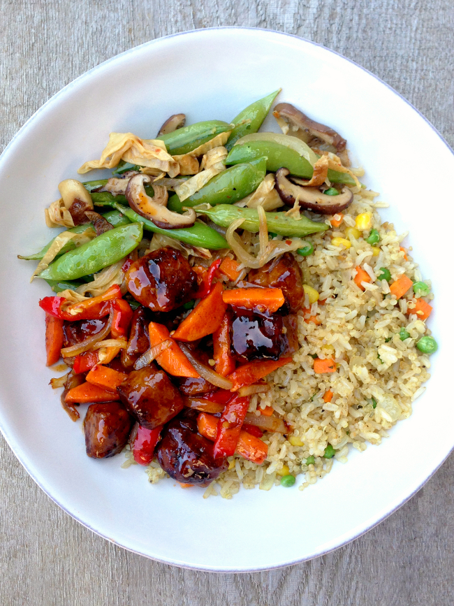 Vegan Sweet Sour Pork Bites Fried Rice